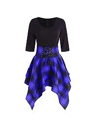 WILLTOO Dress for Women Vintage Patchwork Sleeveless Plaid Asymmetrical Dress High Waist