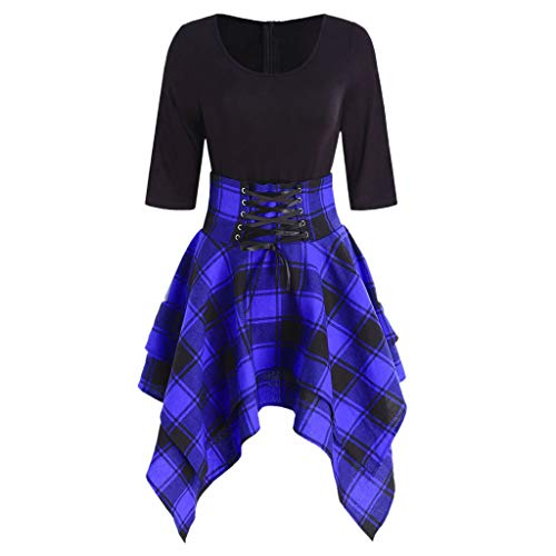 TOTOD Fashion Women Casual O-Neck Lace Up Tartan Plaid Print Asymmetrical Mini Dress Blue ()