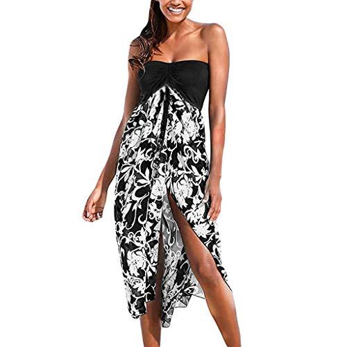 - Women Dresses for Party Off Shoulder Colors Block Cocktail Dress Bohemia Floral Irregular Hem Split Casual Beach Dress White