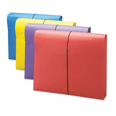 Smead Antimicrobial File Wallet, 2-Inch Expansion, Letter Size, Blue/Purple/Red/Yellow, 4 per Pack ()