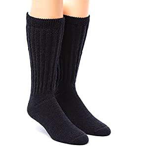 Warrior Alpaca Socks - Men's & Women's Extra Wide Loose Top Casual Crew Alpaca Socks with Comfort Band (Medium, Black)