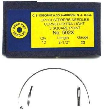 C.S Osborne 12//Pk Curved 3-Sq Point Needles Extra Light #502X Size 2-1//2