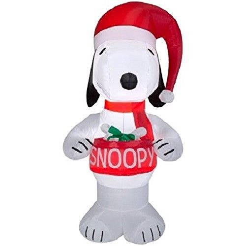 Gemmy Christmas Peanuts Snoopy Holding Dog Bowl Airblown