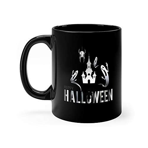 Paper Art Of Happy Halloween A Ghost Fly Out Of The Opened Castle Water Mug 11 Oz -