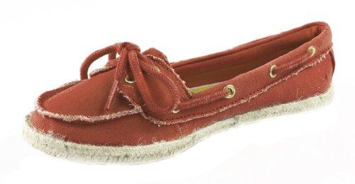 Inoltre! Da Soda Meravigliosamente Leggere Slip-on Scarpe Da Barca Espadrillas In Lino Rosso