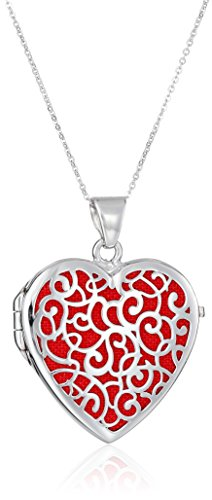 Sterling Silver Italian Red Heart Locket with Freeform Design Pendant Necklace, (Freeform Heart Necklace)