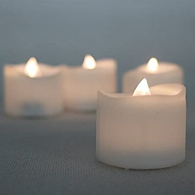 Micandle Warm White Flickering Flameless Candles with Timer(6 hour),Bright Battery Candles
