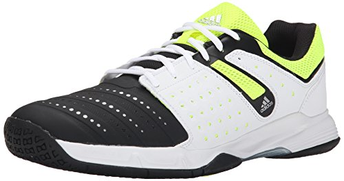 adidas Men's Court Stabil 12 Volleyball Shoe, Black/Silver/Solar Yellow, 9 M US