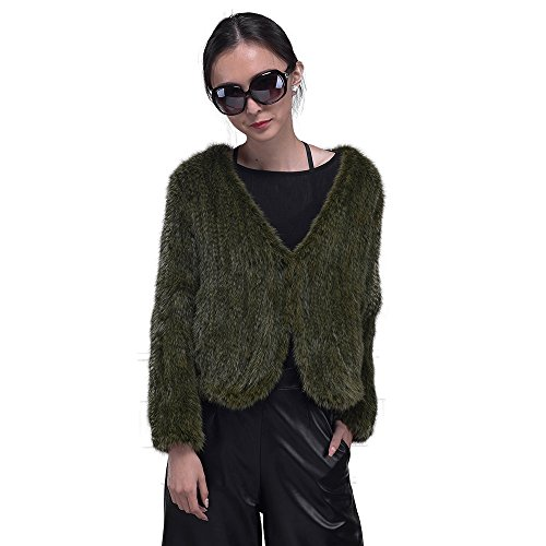 Women Pure Mink Fur Cardigan Sweaters Knitted mink fur long sleeve V-neck Outwear Coat (green, free size) by Jiashibao