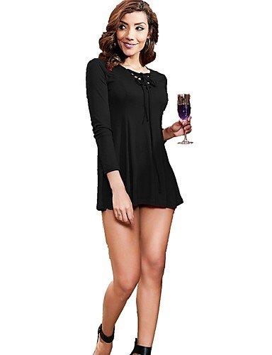talla Vestido de L básico para color sólido de noche formal encaje línea mujer vestido una SHAUIGUO de BUZUp