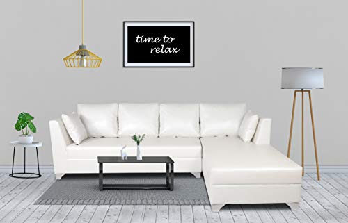 Adorn India Bradley Sal Leatherette L Shape Sofa (Standard Size, White)