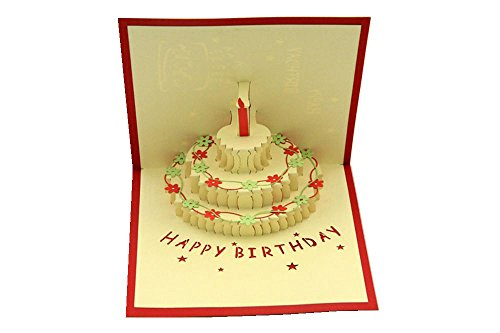 IShareCards® Handmade 3D Pop Up Birthday Cards Creative Greeting Cards Papercraft (90° Happy Birthday Cake)