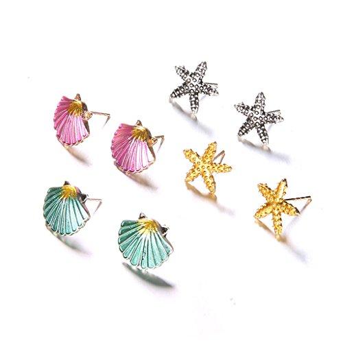 - Kofun Stud Earrings, 4 Pairs Assorted Boho Stud Earrings Colorful Sea Shell Starfish Beach Jewelry
