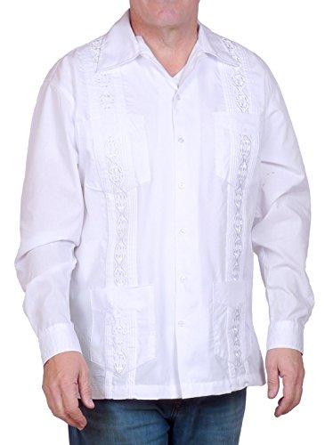 Squish Cuban Style Guayabera Shirt, Long Sleeve, White