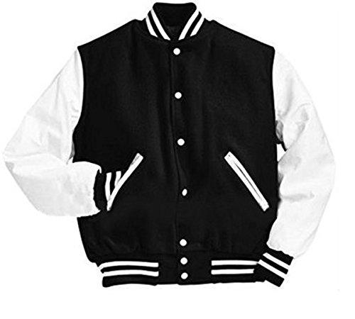 Original Windhound College Jacke schwarz mit weißen Echtleder Ärmel M