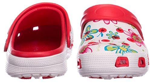 brandsseller Pantoufle Fleurs Jardin de de Femmes Clogs Rouge Motif Plage Sandales Sabots Blanc Chaussure BxBaHq