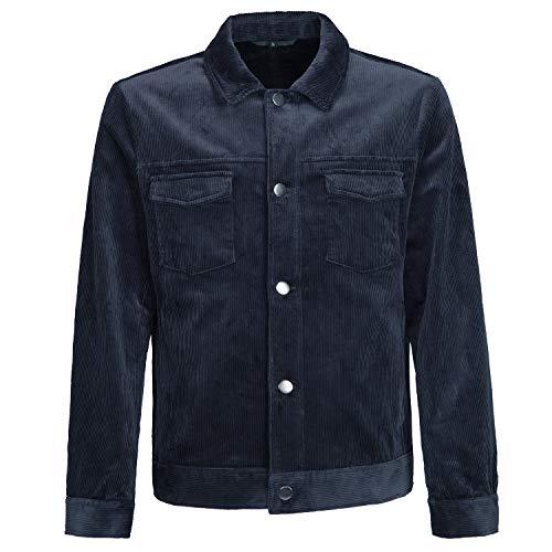 NJ19 Mens Jacket Motorcycle Jacket Coat Regular Fit Corduroy Cotton with Environmental Lining Fashion Autumn&Spring Navy-2XL(EU)