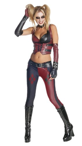 Secret Wishes Batman Arkham City  Adult Harley Quinn Costume, Multi-Colored, (City Party Halloween Costumes)