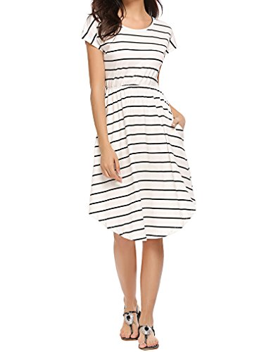 Qearal Women Summer Short Sleeve Striped Loose Swing T-Shirt Midi Dress with Pockets (Ivory, L) ()