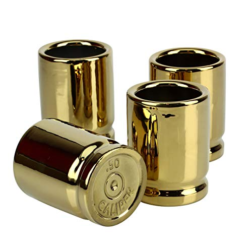 Barbuzzo 50 Caliber Shot Glass - Set of 4 Shot Glasses Shaped like Bullet Casings - Step up to the Bar, Line 'Em Up, and Take Your Best Shot - Great Addition to the Mancave - Each Shot Holds 2-Ounces by Barbuzzo