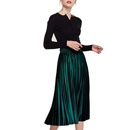 Fashion Knee Skirt, Women Half-Length Skirt Highwaist Velvet Purely Elastic Pleated Bronzing Stretch Half Body A Skirt lkoezi