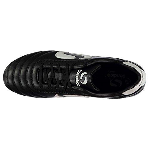 Sondico Mens Grève Terrain De Football Chaussures De Sol Lacé Rembourré Col Cheville Goujons Noir / Blanc