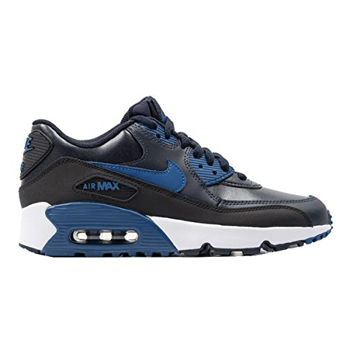 Price comparison product image Nike Air Max 90 LTR (GS) Running Trainers 833412 Sneakers Shoes (5.5 M US BIG KID,  Black-navy Blue-white)