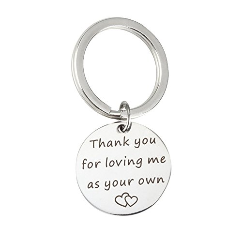 Lemoo Thank you for loving me as your own Mother Father Fashion Jewelry Gifts Stainless Steel Keychain Key Ring Gift Bag Included (Thank You Wedding Keychains)
