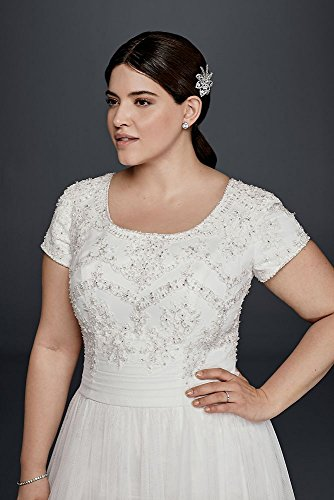 39d26f7d08cf Tulle Modest Short Sleeve Plus Size A-Line Wedding Dress Style 9SLWG3811