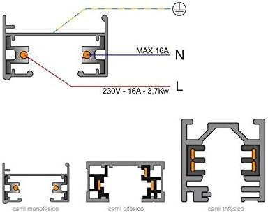 Conector foco a carril monof/ásico blanco CT