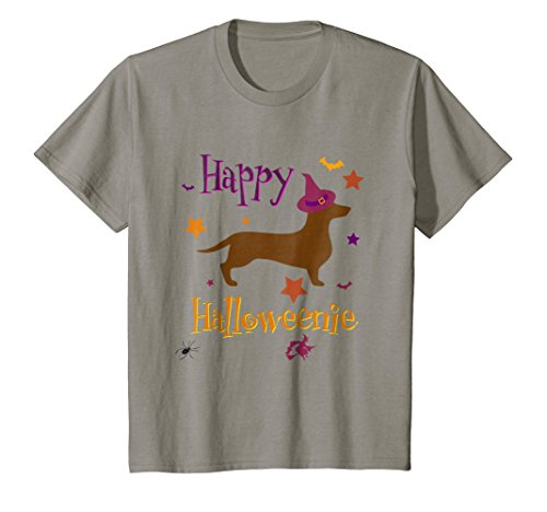 Kids Happy Halloweenie Dachshund Lover T-Shirt 6 Slate -
