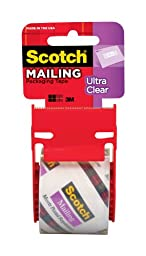 Scotch Ultra Clear Mailing Packaging Tape with dispenser, 1.88 x 800 Inch, Clear (141)