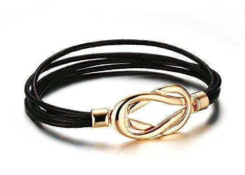 Vnox hommes femmes avec bracelet cuir gold nœud celtique de couches de bracelet,de 22 cm