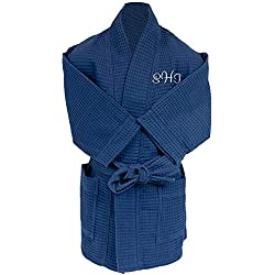 Alan Pendergrass Robes Personalized Kids Unisex Waffle Weave Bathrobes Sizes 2-12 (6-8, Navy)