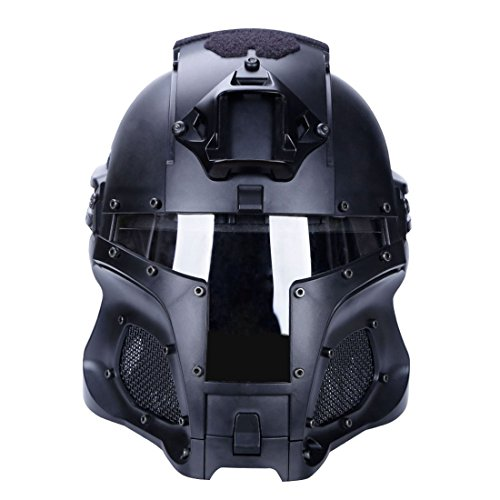 Goshfun Tactical Military Helmet Protective Fast Helmet Full Face Mesh Mask with Goggle for Airsoft Paintball CS Outdoor Activity, Black ()