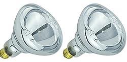 Pack Of 2 BR40/250/E26 Heat Lamp 250-Watt BR40 Clear Flood Reflector Mediume Base Light Bulb