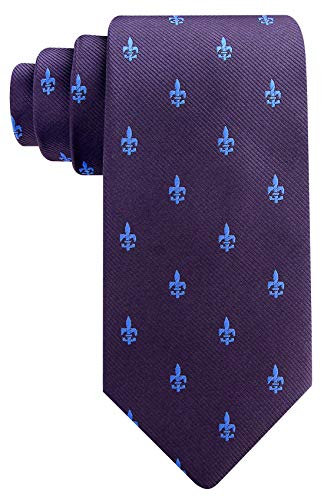 Fleur De Lis Ties for Men - Woven Necktie - Gray w/Blue