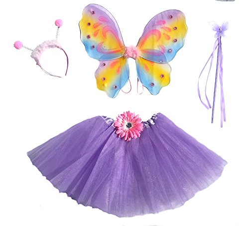 Girls Lavender Rainbow Fairy Costume with Wings, Wand & Antennae (Rainbow Fairy Costume)