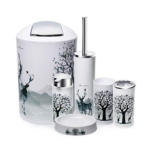 O2 Tech 6 Piece Bathroom Accessories Set,Plastic Bath Ensemble Bath Set Lotion Bottles, Toothbrush Holder, Tooth Mug, Soap Dish, Toilet Brush, Trash Can (Elk)