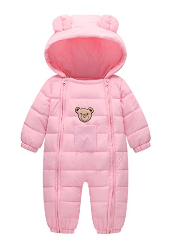 Happy Cherry Baby Cotton Clothes Down Jacket Jumpsuit 9-18 Months Months Winter Long Sleeve Bodysuit Onesie Snowsuit Pink ()