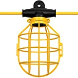 Miusco 50 Feet SJTW 14/2 5-Socket Commercial Duty Lamp Holder with Plastic Light Bulb Cage, Temporary String Work Light Guard, 120V 150W 12A