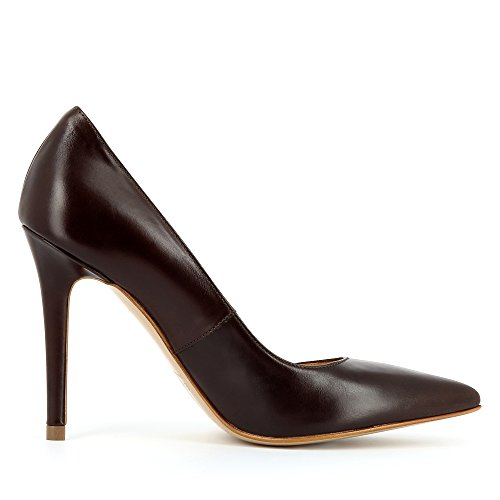 de Cerrada Punta Marrón Oscuro Mujer Tacón Alina Evita para Shoes con Zapatos Marrón wYx0PwtOq