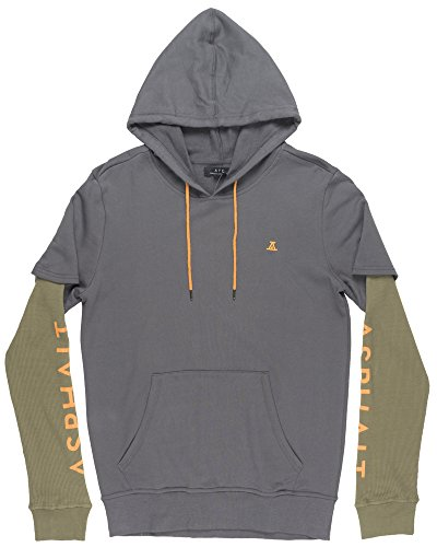 Asphalt Yacht Club Undefeated Two Fer Mens Hoodie in Charcoal