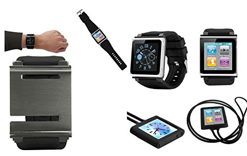 PiGGyB EZ Snap Watch Band Necklace Case Cover For Apple iPod Nano 6 6th Generation (Black Black) by PiGGyB