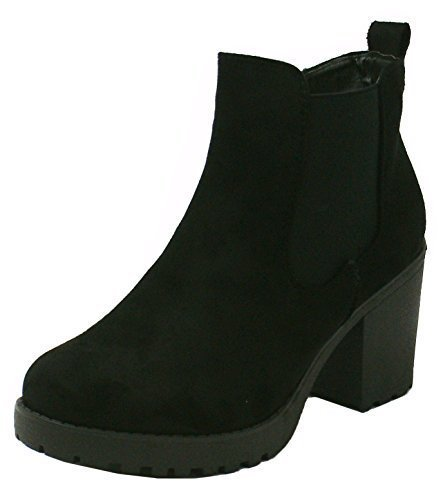SHU CRAZY Womens Ladies Faux Suede Chunky High Block Heel Cleated Sole Platform Chelsea Fashion Ankle Shoe Boots - S88 Black Suede
