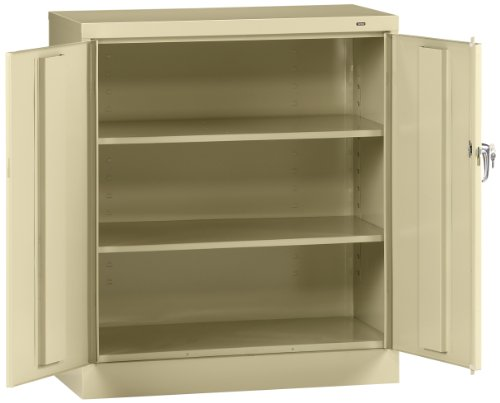 Locker Steel Standard (Tennsco 4218 24 Gauge Steel Standard Welded Counter High Cabinet, 2 Shelves, 150 lbs Capacity per Shelf, 36