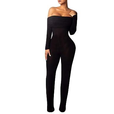 12f0e0186d00 nanzhushangmao pants Women Jumpsuit Off Shoulder Long Sleeve Sexy Bodycon  Hip Rompers Jumpsuit Bodysuit Playsuits Black