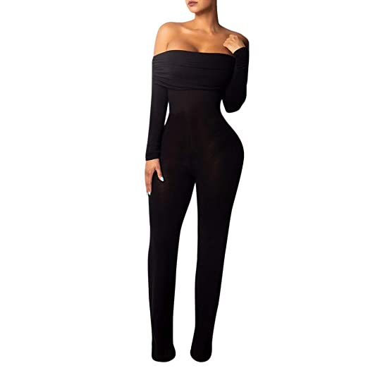 166a4101920 Womens Off Shoulder Jumpsuit Casual Long Wide Leg Stretchy Slim Fit Outfit Romper  Pants Black
