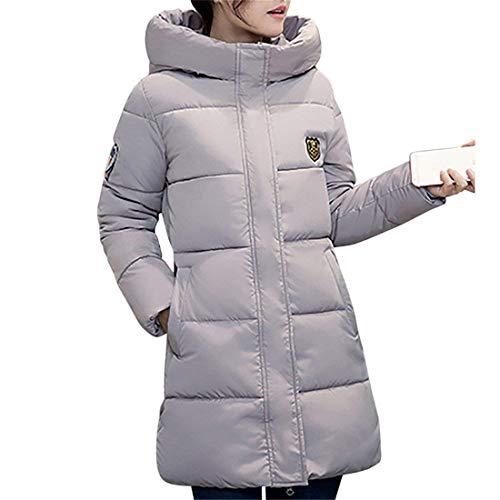 Elgante Grau Grande Manches Slim paissir Parka Blouson Chemine Longues Stepp Costume Warm Fashion Longues Femme Fit Taille Hiver Manteau Capuchon Doudoune Quilting 0wpq1xw