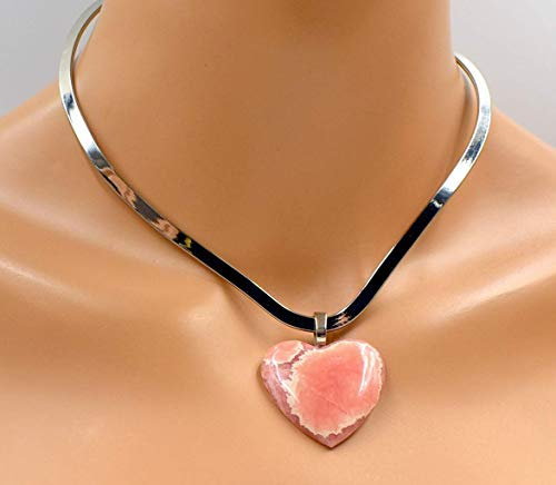 (Rhodochrosite Gemstone Big Heart-shaped Pink Pendant Self Love Limited Ed.)